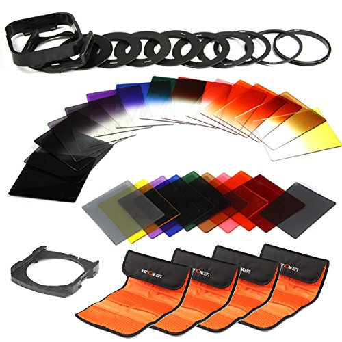 K&F Concept 40 in 1 Square Filter Kit Graduated Full Color ND Filter Set Compatible with Cokin P Series for DSLR Cameras