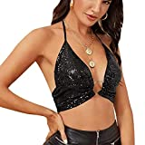Women Sexy Sequins Glitter Halter Neck Crop Tank Top V Neck Sleeveless Backless Camisole Vest with O-Ring Black