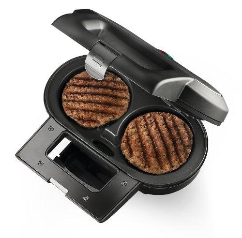 MACOM Double Bourger 856 Piastra Antiaderente elettrica per Cucinare, Contempo-raneamente, 2 Hamburger in pochissimi Minuti e Senza Grassi, 1000 W, Nero/Argentato
