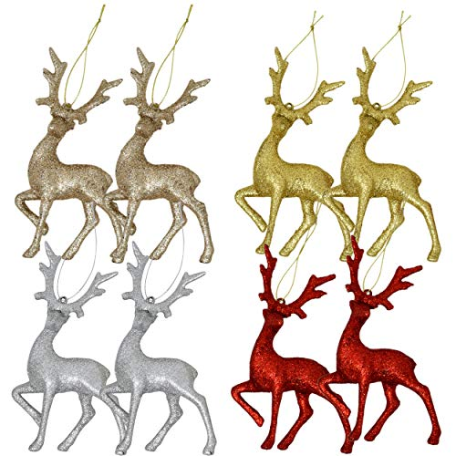 Mini Reindeer Christmas Ornaments Figurines 8 Pack Deer Moose Tree Decorations Silver Red Gold Champagne Glitter Festive Holiday Party Decor by Gift Boutique