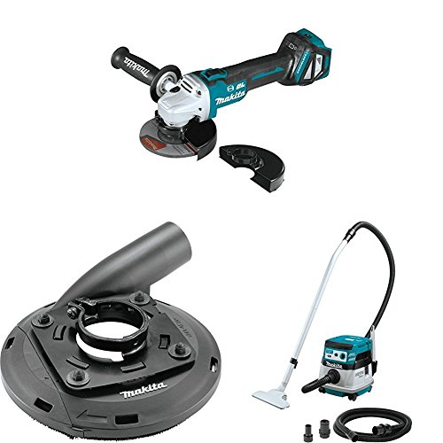 """Great Features Of Makita XAG17ZU 18V LXT Brushless 4-1/2""""/5″ Cut-Off/Angle Grinder, AWS, Dust Extraction Surface Grinding Shroud, XCV08Z 18V X2 (36V) Brushless 2.1-Gal HEPA Filter Dry Dust Extractor/Vacuum, AWS"""