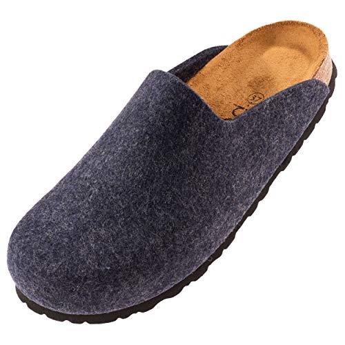 Palado® Sandale Oslo   Made in EU   Pantoletten in 3 modischen Farben   Filz Pantoletten mit Natur Kork-Fussbett   Herren und Damen Hausschuhe mit Leder-Laufsohle Blau 39 EU