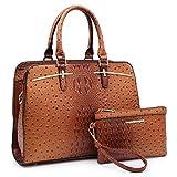 Dasein Women Satchel Handbag Shoulder Purse Top Handle Work Bag Tote Bag With Matching Wallet (Brown Ostrich)