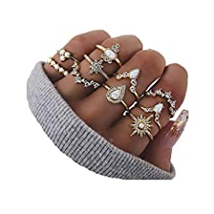 TRENDY RINGS--10 pcs knuckle rings,great costume accessories,provide a variety of different collocation,match with suitable apparel for different occasion,variety rhinestone embeded on them,make you charming and attractive. SAFE MATERIAL--Using high ...