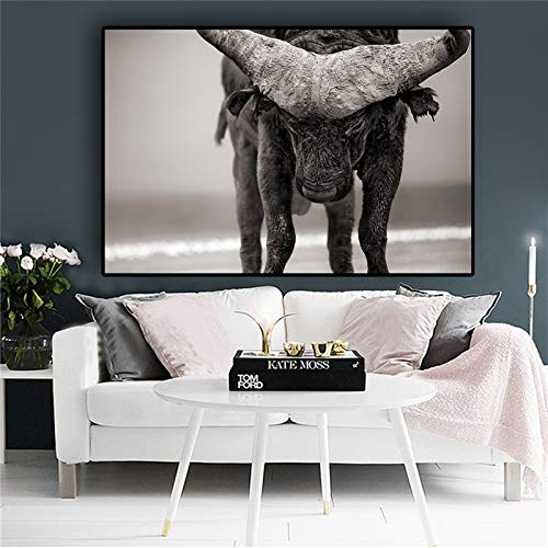 Frameloze olieverf Zwart-wit buffel Lake Nakuru Animal abstract canvas schilderij Posters en prints foto de50x70cm