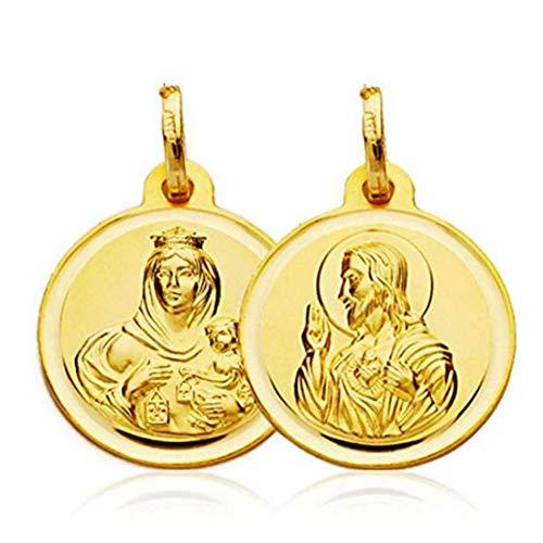 Medalla Escapulario Oro Ley 18 Ktes. 14mm diámetro