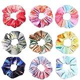 ShipeeKin 9 Stück Regenbogen Haargummis Samt Scrunchies Velvet, Elastische Bunte Haarbänder für Damen Mädchen Haarschmuck (9 Farben)