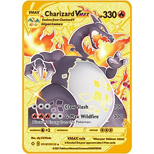 Mrjg Poké Pokemon-Karten Metallkarten 1. Auflage Charizard Pikachu VMAX GX. Anime Battle Game Carte Collection Kinder Geschenkspielzeug (Color : C08)