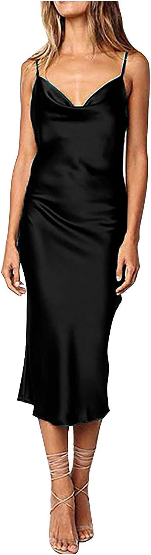 Women's Sexy Solid Color Simulation Silk Slim Dress Banquet Halter Long Dress