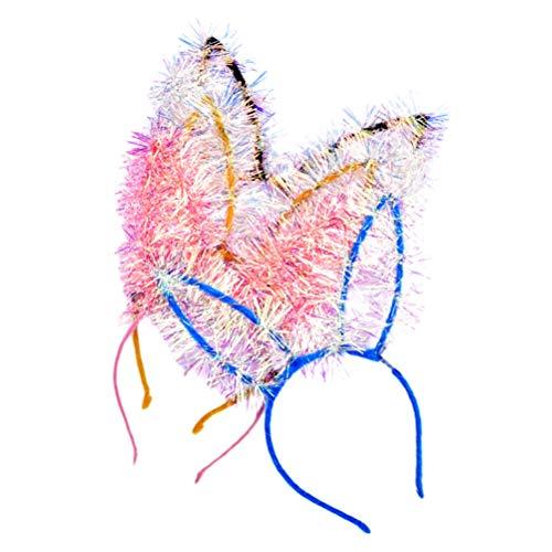 Minkissy - 8 unidades de pulseras brillantes para la cabeza de la oreja del conejo para fiestas de cumpleaos y bodas del Ao Nuevo.