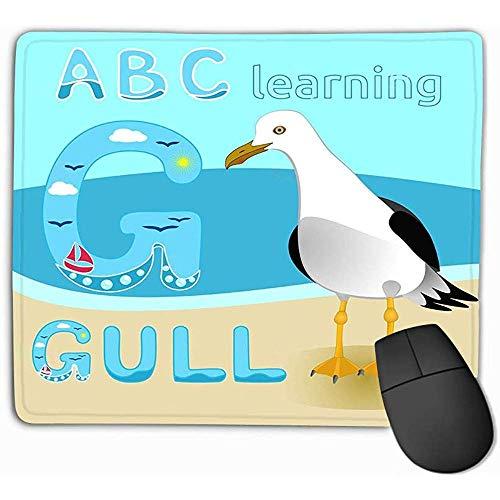 Grote Muis Pad,Mouse Pad Seagull Vogel Cartoon Karakter Gull Korte Tailed Albatross Zee Strand Fauna Grote Kinderen Print Anim Rechthoek Rubber Mousepad 25X30Cm