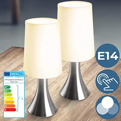 Tischlampe mit Dimmer Touchfunktion - EEK: A++ bis E, 2er Set, E14, LED, mit Berührungssensor - Nachttischlampe, Tischleuchte, Nachttischleuchte - für Wohnzimmer, Schlafzimmer, Kinderzimmer (2er)