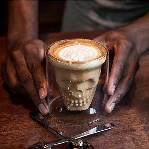 Skull Espresso Coffee Cup Double Wall Glass Mug Skeleton Whisky Bar Wine Glasses Transparent Vodka Shot Wine Glass Drinkware (Capacity : 150ml)