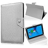 UC-Express Tablet Tasche für Medion Lifetab S10345 S10346 Hülle Schutzhülle Carbon Hülle Bag, Farben:Silber