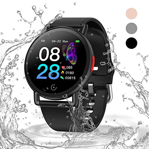 Oriver Fitness Uhr mit Großem Farbbildschirm, Schrittzähler Uhr für Männer Frauen, Schwarz