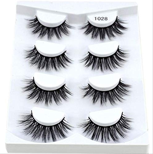IYTE Faux cils4pairs 3d Mink Lashes Natural Long False Eyelashes Dramatic Volume Fake Lashes Makeup Eyelash Extension Silk Eyelashes 1028
