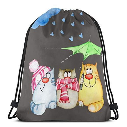 Sunny R Katze Duschen Kordelzug Rucksack Tasche Gym Tanz Taschen Geburtstagsgeschenk für Kinder Teen 17×14 Zoll