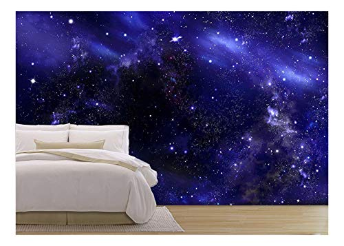 wall26 - Starry Night Sky Deep Outer Space - Removable Wall Mural | Self-Adhesive Large Wallpaper - 66x96 inches