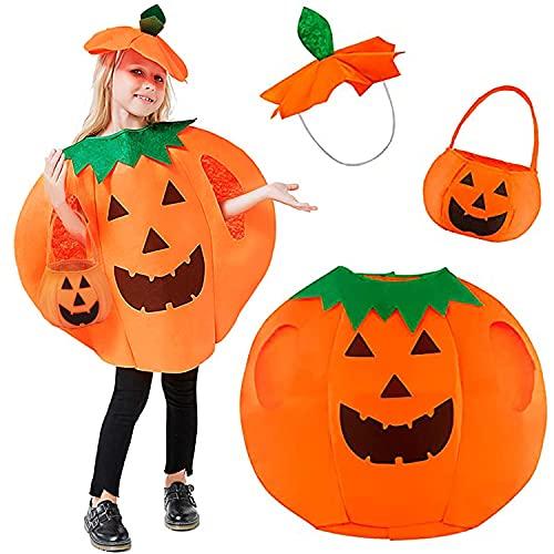 SHUOYUE Costume da Zucca di Halloween Bambino Vestiti Halloween Bambina 3 Pezzi Vestito da Zucca con Aaccessori Halloween Cappello Sacchetti di Caramelle Costume Carnevale Cosplay Feste (S)