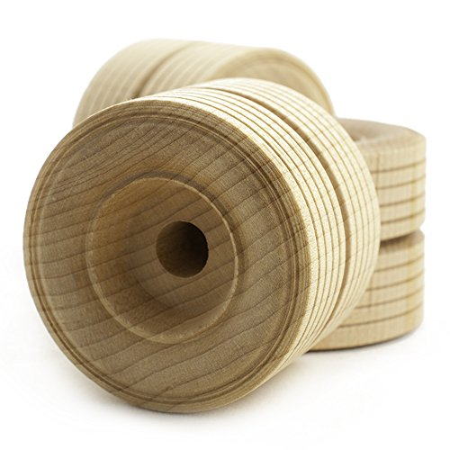 "2' inch Dual Treaded Wooden Toy Wheel at 1-1/2"" inch Thick with a 3/8"" inch Hole - Bag of 12"