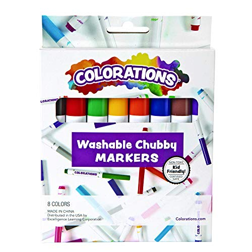 Colorations Chubby Markers, 8 Colors, Conical Tip, Coloring, Paper, Kids, Posters, Drawing, Bold Colors, Home, Classroom, School Supplies, Art Supplies, Craft Projects, Children, Gift, Classic Colors CHB