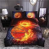 Wzz Bettwäsche 3 Teilig 3D Microfaser Basketball, Bettbezug, 2 Kissenbezug, für Kinder, Jungen, Mädchen Bettwäsche-Set,Firebasketball,200 * 229cm