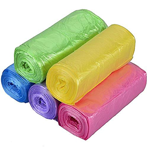 Pedal Bin Bags, Bin Liners 3-10 Litres Without Handles PE Food Waste Bags Coloured Caddy Liners Bags for Kitchen Bathroom Bedroom Office Use -150pcs Mix Coloured Colourful