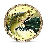 Reloj De Acrílico 30cm It's Fish O'Clock Fisherman Reloj de Pared de Pesca con Estampado a Todo Color Reloj de Cocina Moderno Reloj de Pesca con caña Regalo de Pescador