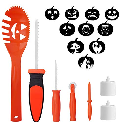 HOTSAN Halloween Kürbis Carving Tools Kit - 5 Kürbis Tools + 10 Carving Templates + 2 LED Kerzen, DIY Kürbis Carving Set für Kinder Familie Halloween Dekorationen