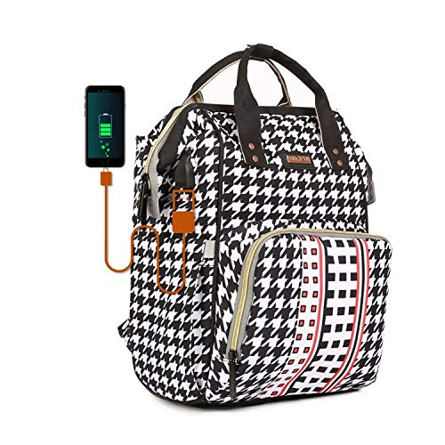 Diaper Bags Backpack Houndstooth Baby Care Travel Nappy Backpack Large Capacity Mom Black Diaper Backpacks with Multiple Pockets Stroller Straps USB Charging Port Mom Dad Babies Gifts