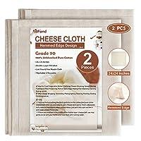 eFond チーズクロス 24×24インチ 縁取りチーズクロス 再利用可能 グレード90 二層ろ過 未漂白 ピュアコットンチーズクロス 調理用 ナッツミルクストレーナー (2個)