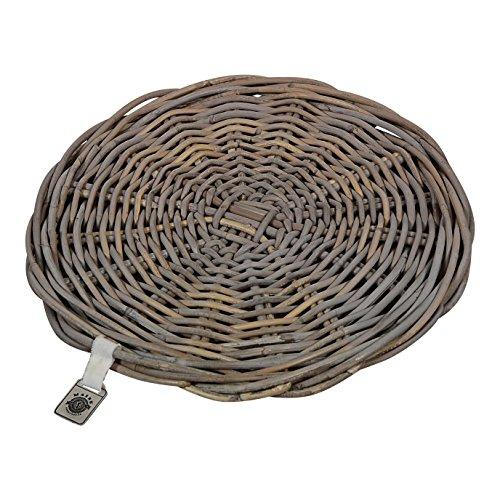 Maine Furniture Co. M500320-4 Runde Platzsets 4er Set, dekorative Platzteller für Zuhause, natürliches Rattan, hitzebeständig, 30 x 30 x 2 cm, 30x30x2 cm