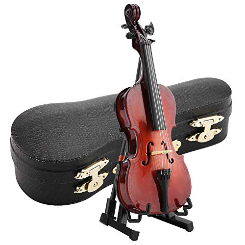 Hztyyier Miniature Cello 5.5in Wooden Instrument Model with Case Desk Display Musical Gifts Ornaments