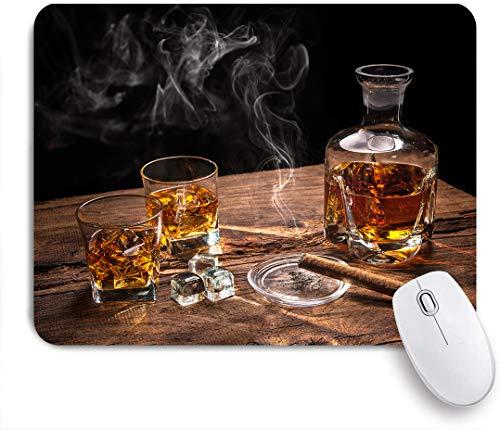 GLONLY Vaso de Whisky con cigarro Ahumado sobre Mesa de Madera,Alfombrilla Raton Alfombrilla Gaming Alfombrilla para computadora con Base de Goma Antideslizante para Laptop con computadora
