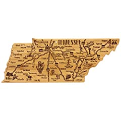 Celebrate life in The Volunteer State with this beautiful bamboo cutting board in the shape of Tennessee with permanent, laser-engraved artwork Fun, whimsical laser-engraved artwork calls out all the wonderful sights and places in the state from Memp...