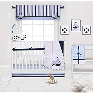 Bacati Boys 10-Piece Nursery Décor Nursery-in-A-Bag Crib Bedding Set with Front Long Rail Guard Baby Cover Protector 100 Percent Cotton, Little Sailor, Large (BILS10CSG)