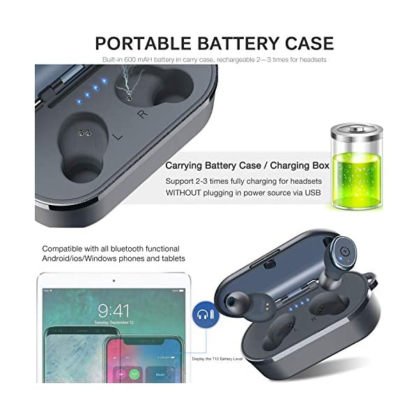 Bluetooth 5.0 Wireless Earbuds with Wireless Charging Case IPX8 Waterproof TWS Stereo Headphones in Ear Built in Mic Headset Premium Sound with Deep Bass for Sport Blue 6