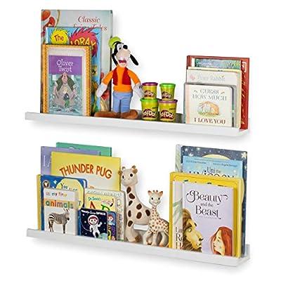 Wallniture Denver 30 Inch Floating Shelves for Wall, White Bookshelf for Kids' and Nursery Room Decor, Picture Ledge Shelf Set of 2
