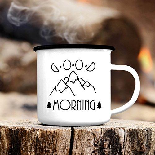 Wandtattoo-Loft Campingbecher Emaille Kaffeetasse Good Morning Berge weiß Tasse Becher mit Motiv Spruchbecher Geschenk Tassenrand schwarz oder Silber/schwarzer Tassenrand