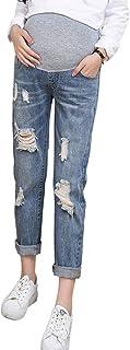 Jeans Premaman Donna,TTMall Strappati Elasticizzati Skinny Incinta Abbigliamento Casual Sottile Buco Rotto Jeans Donna in Gravidanza Pantaloni Denim