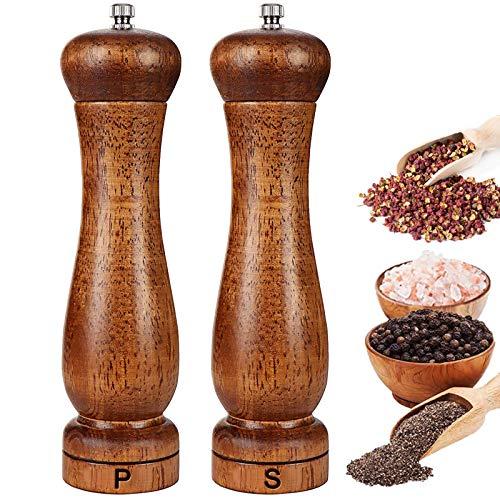 Salt and Pepper Grinder Set, Adjustable Ceramic Sea Salt Grinder & Pepper Mill, Best Salt and Pepper Shakers - Pepper Grinders & Salt Mill Refillable.