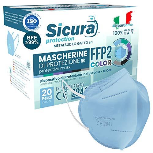 20x FFP2 Maske Farbe Hellblau CE Zertifiziert Filterklasse BFE ≥99% FFP2 Masken SANITIZIERTE Einzeln versiegelte ISO 13485 Medizinprodukte Atemschutzmaske CE Hergestellt verpackt in Italien