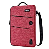 DOMISO 10.1 Inch Waterproof Laptop Sleeve Canvas with USB Charging Port Headphone Hole for 10.1-10.5 Inch Laptops / eBooks / Tablets / iPad Pro / iPad Air / Lenovo Yoga Book / Acer , Red