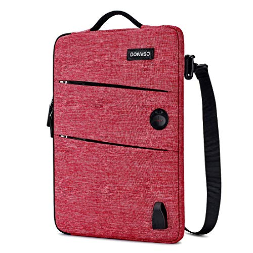 DOMISO 10.1 Inch Waterproof Laptop Sleeve Canvas with USB Charging Port Headphone Hole for 10.1-10.5 Inch Laptops/eBooks/Tablets/iPad Pro/iPad Air/Lenovo Yoga Book/Asus/Acer, Red