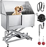 VEVOR 50' Electric Pet Dog Grooming Tub Stainless Steel X-Style Electric Lift Height Dog Bath Tub Pet Washing Station with High Pressure Sprayer and Plate Dog Wash Tub Left Door