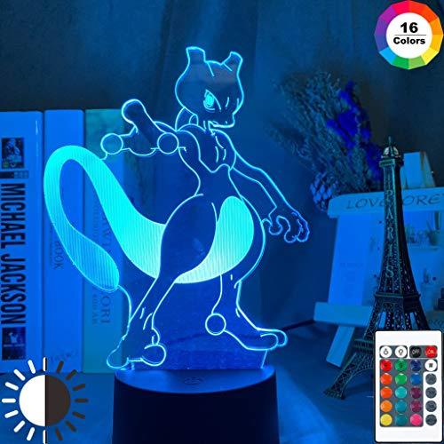 Spiel Pokemon Gehen Mewtwo LED Nachtlicht für Kinder Kind Schlafzimmer Dekoration Atmosphäre Beleuchtung Tasche Monsters 3D Lampe Mewtu