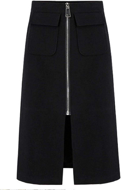 CHARTOU Women's Elegant Front Half Zip Bandage Slit A-Line Pencil Skirt with Pockets