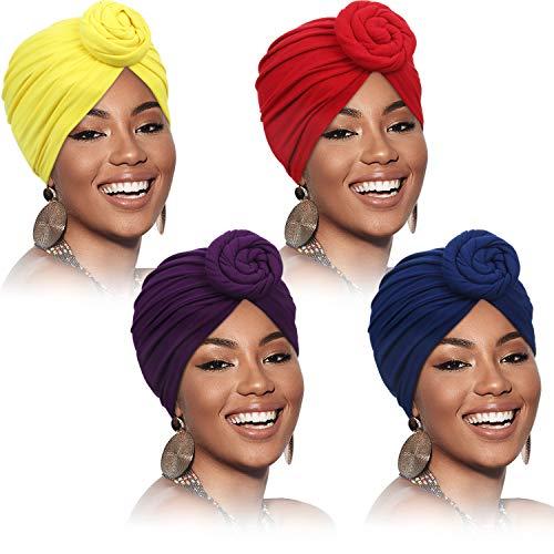 SATINIOR 4 Stück Afrikanisches Muster Kopfbedeckung Vorgebundene Haube Turban Knoten Mütze Kappe Hut (Rein Lila Gelb Rot)