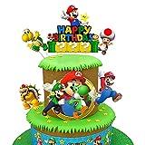 Super Mario Cake Topper, Hilloly-Super Mario Happy Birthday Party Cupcake Topper de Tarta Fiesta de Cumpleaños DIY Decoración Suministros para Niños Ducha de Bebé Fiesta de Cumpleaños