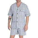 El Búho Nocturno - Pijama Hombre Corto Judo Popelín Cuadros Azul Claro 100% algodón Talla 3 (M)
